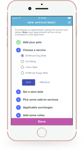 Create and Edit Appointments with Scout for Pet Owners on iOS